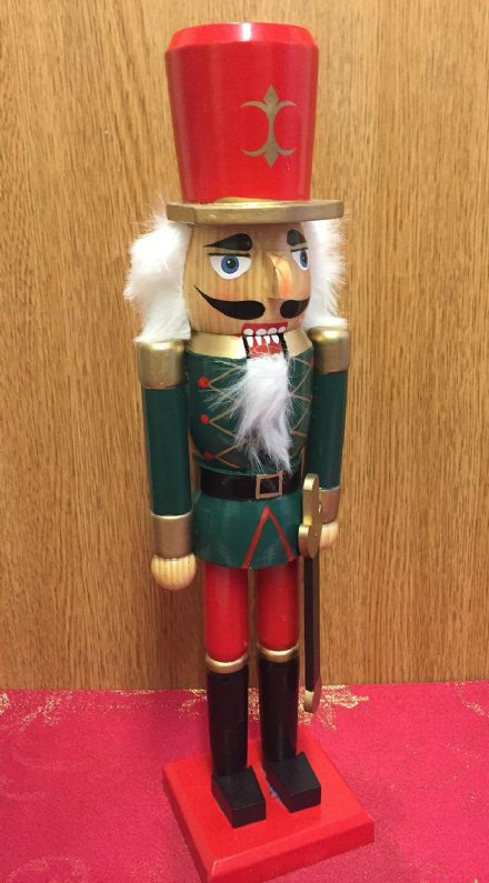 Hand Painted Wooden Nutcracker 38 cm Traditional Christmas Ornament ~ Red & Green